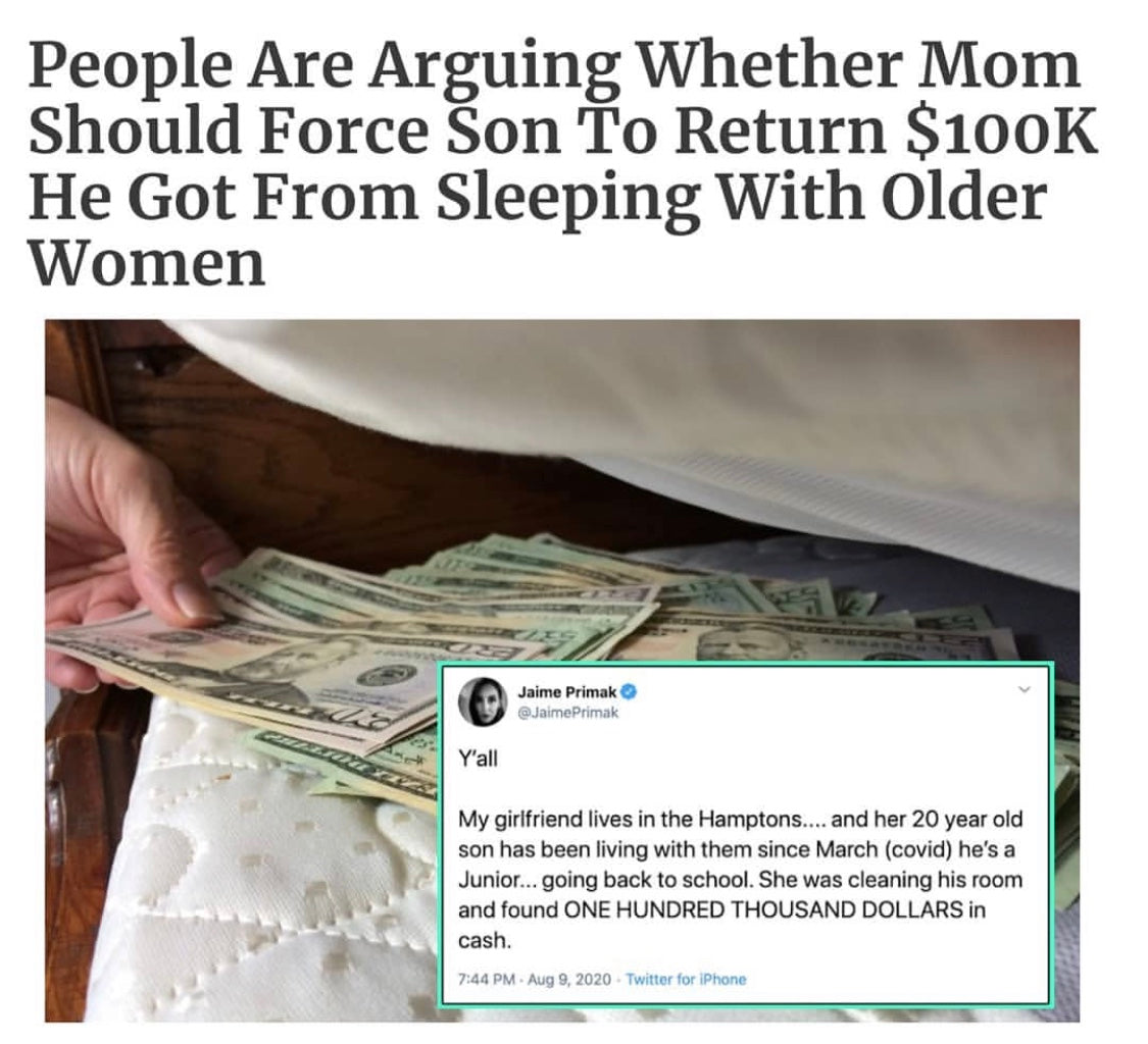Mom Trying To Force Son To Give Back 100K he Earned Sleeping With Older woman