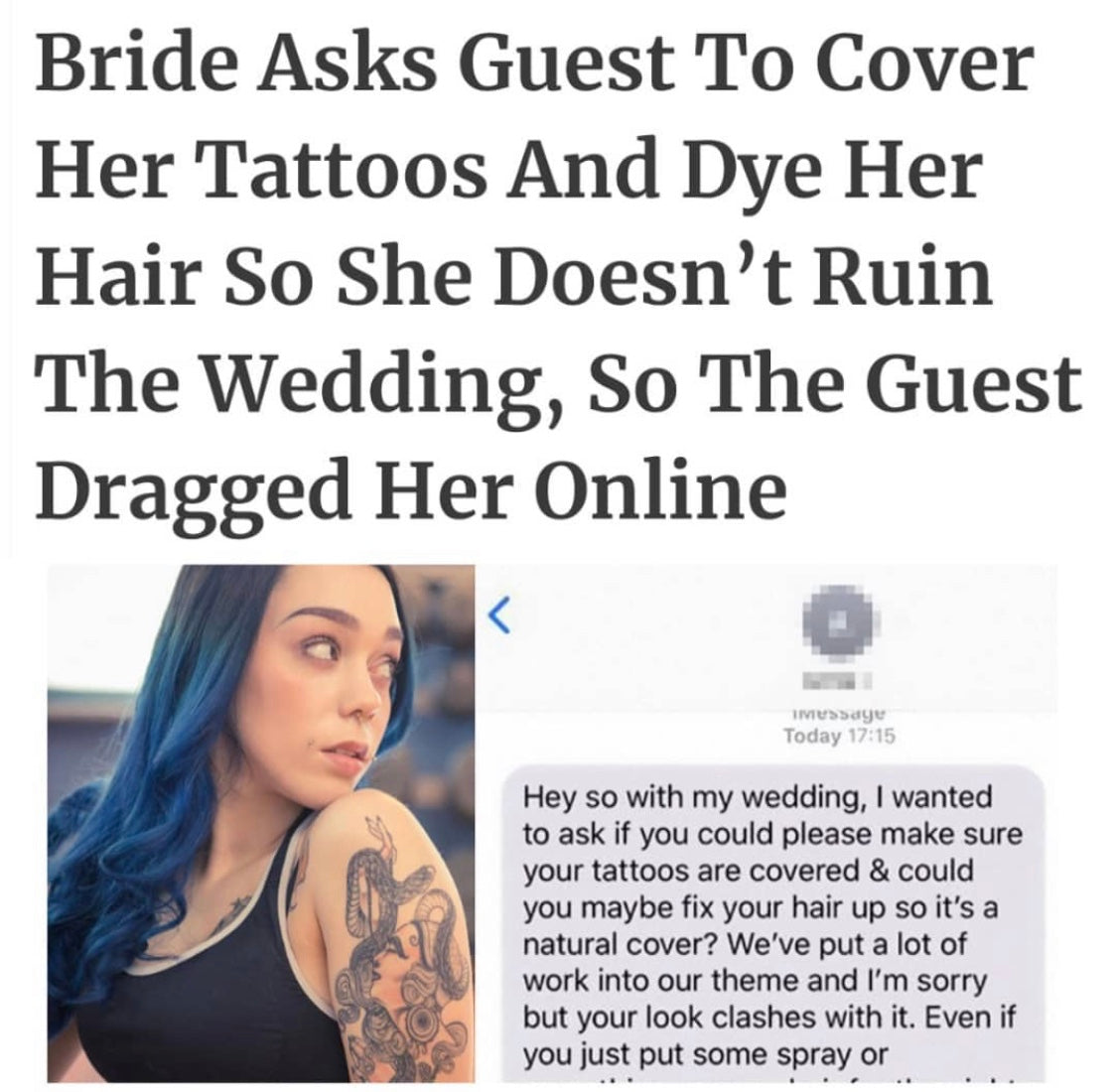 Bride asks Guest to Cover Tattoos
