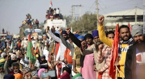 Farmers in India at protest outside new delhi