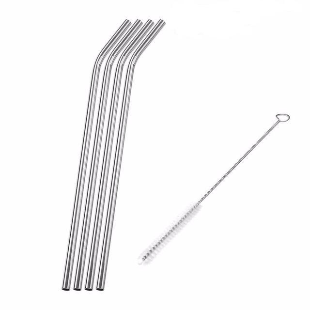 Set of 4 stainless steel straws (4 straws, 1 cleaning brush)