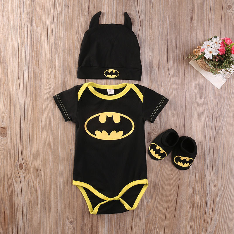 Black & Yellow Batman Booties Set - Infant new batman romper + hat + shoes 3pcs/set Children climb suit baby clothes
