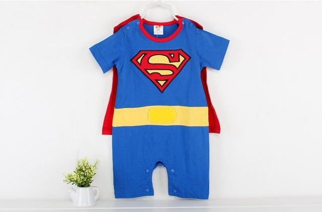 Baby Boy Romper Superman Long Sleeve with cape for Halloween or Christmas Costume.