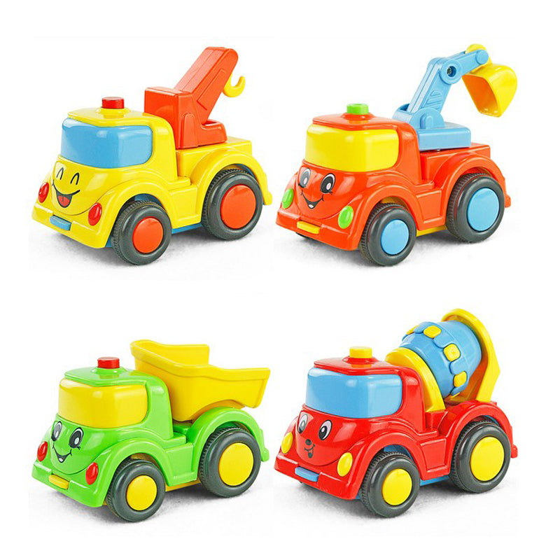 City building construction series of children's toys mini car smiley baby truck back car Inertial car WJ125