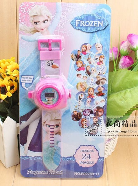 Fashion Kids 24 projection  cartoon watch Snow Queen Princess Elsa Anna children wristwatches clock girl gift