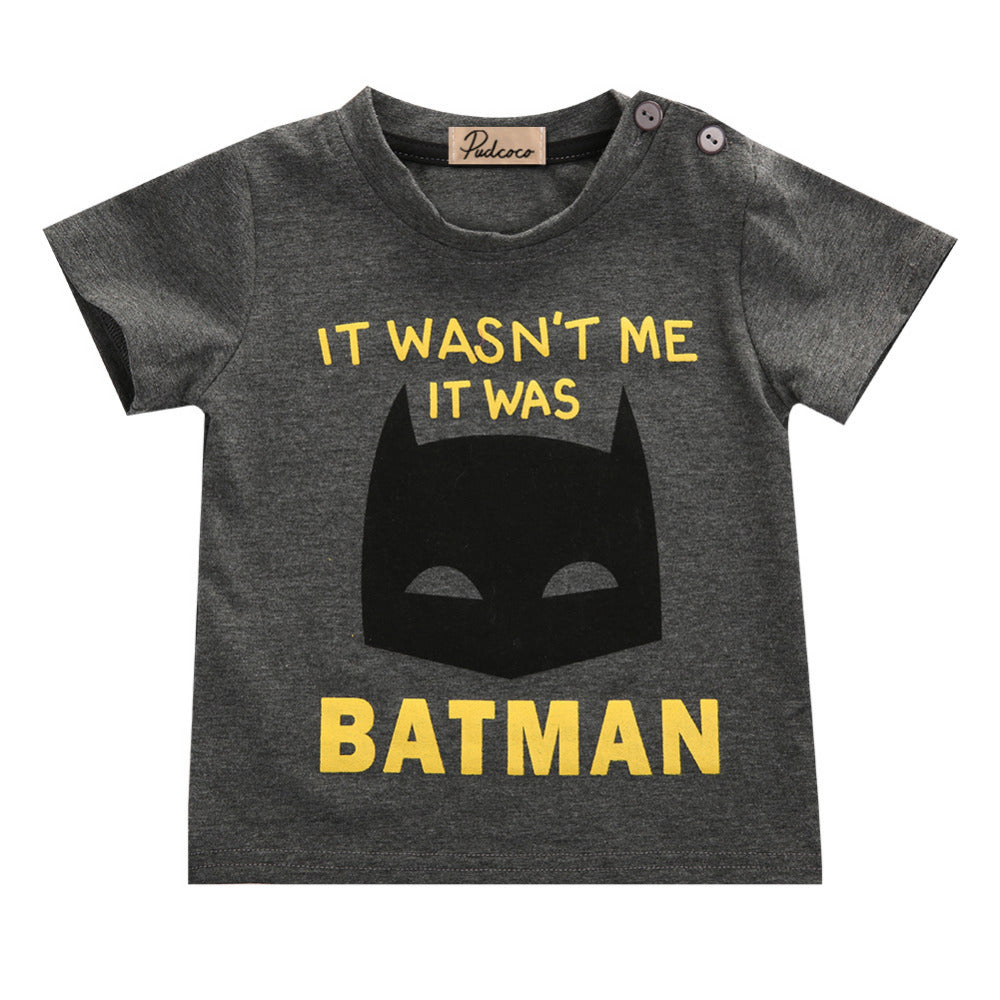 Newborn Baby Boys Clothes-Batman Short Sleeve Summer T-Shirt