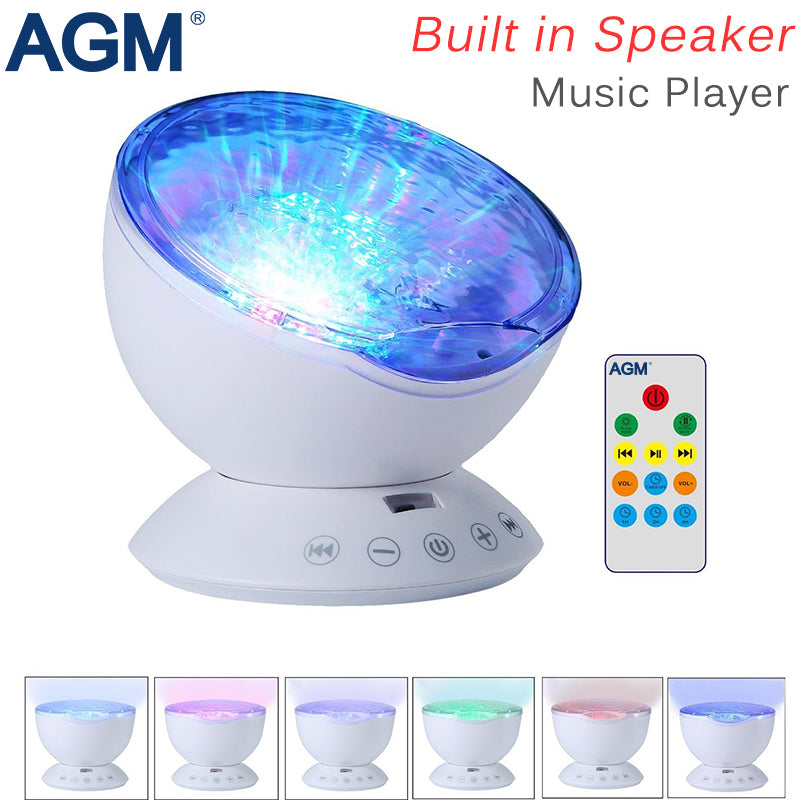 AGM Ocean Wave Starry Sky Aurora LED Night Light Projector.   Luminaria Novelty Lamp with USB. Lamp Nightlight Illusion For Baby Children