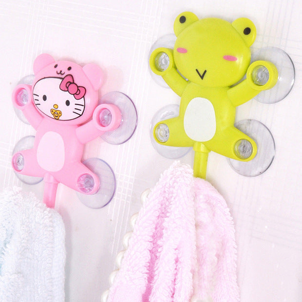 Free shipping bathroom sets Home Creative Design family Cartoons rotatable  Hello kitty Sucker hooks clothes/kitchen/garden hook