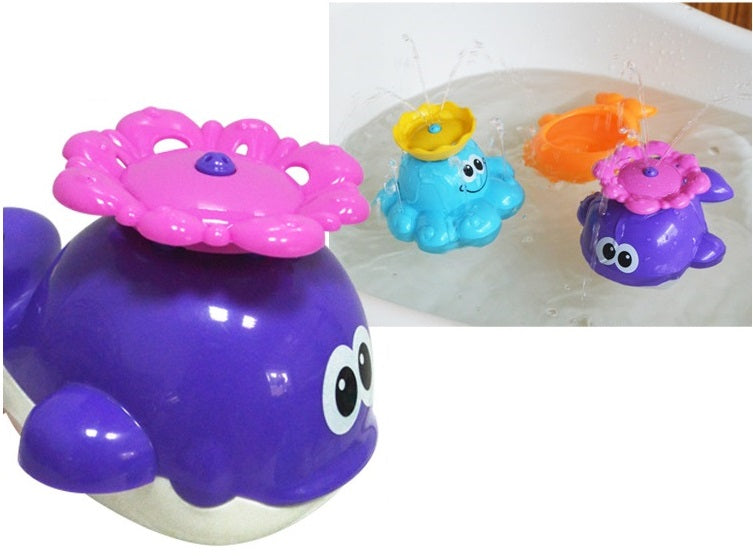 New come Kid Gift baby bath fun toys rotary automatic sprinkler blue octopus and Purple whale swimming toys