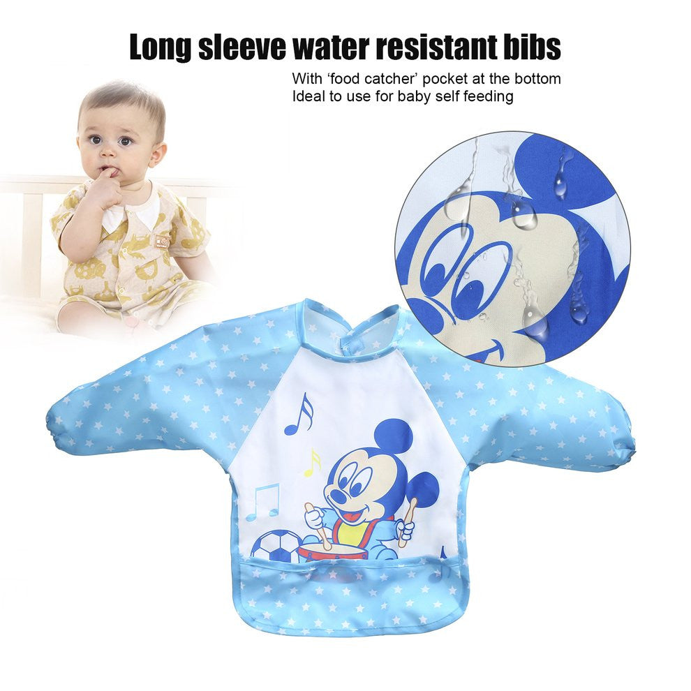 With Food Catcher Bag at the bottom Polyester Cute Cartoon Children Baby Waterproof Long Sleeve Self Feeding Bib Apron