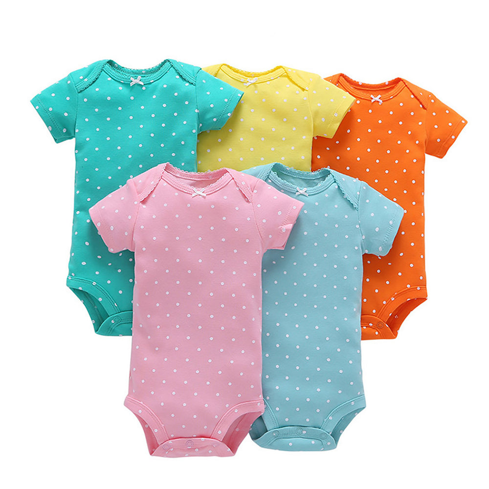 "Baby Rompers- 100% Cotton Short Sleeve Stitch Onesise- 5 pcs"" Newborn Baby Clothes"