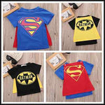 Fashion Baby Boys Clothes Super Man Batman Short Sleeve T-Shirt with Mantle Toddler Kids Boy Top Shirt 2016