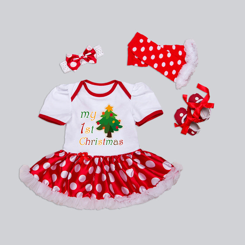 """My First Christmas"" Baby Girl 4-Piece Outfit"