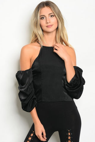High-Neck Cold Shoulder Top