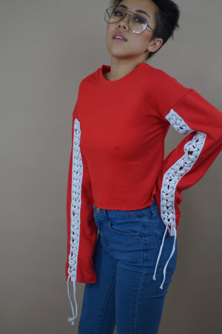 Trumpet Laced Sleeve Top