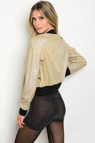 Gold Sparkle Bomber Jacket
