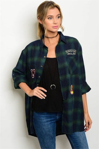 Patched Plaid Boyfriend Shirt
