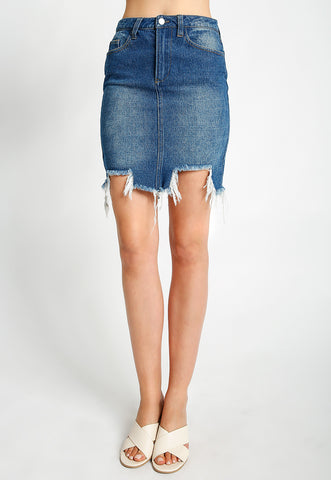 Distressed Uneven Denim Skirt