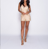 Gold Lace Front Romper with Gold Embroidery