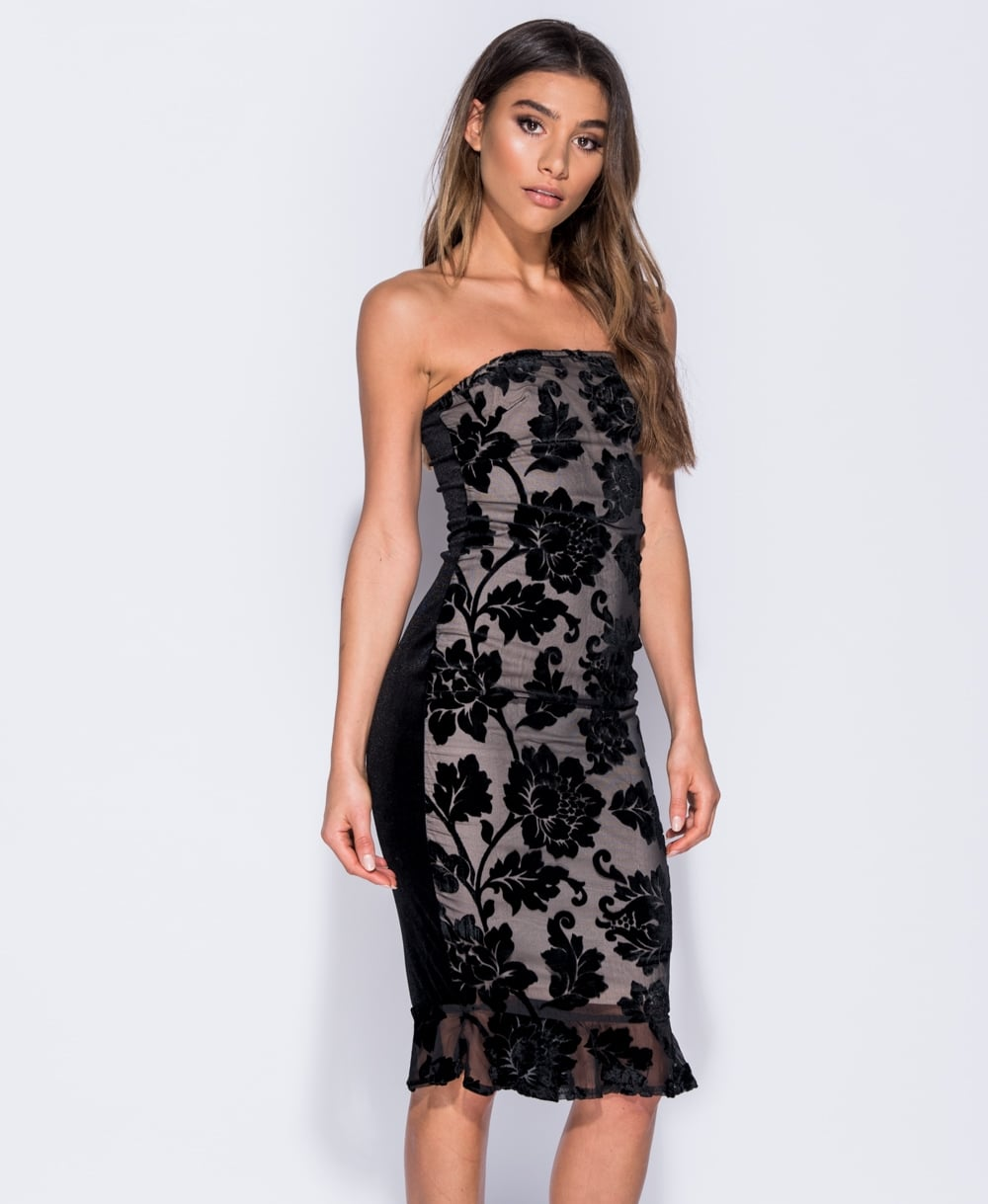 Mesh Velvet Burnout Dress