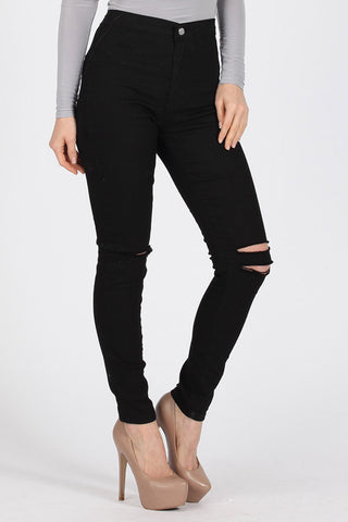 Ripped Knee Skinny Pants