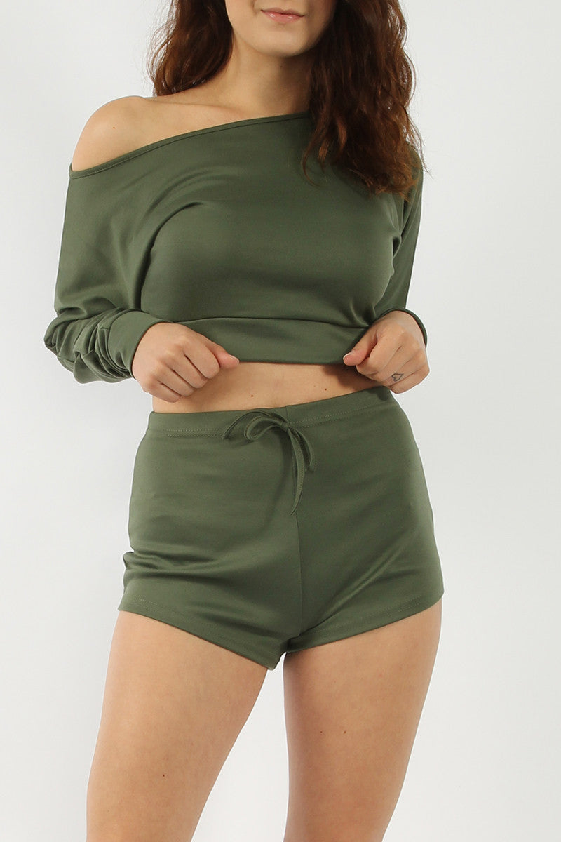 Wide-Shoulder Crop Top and Shorts Set