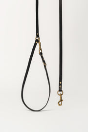 Long Leather Dog Lead, Black - allwaggers.com