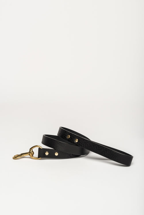 Leather Dog Lead, Black - allwaggers.com