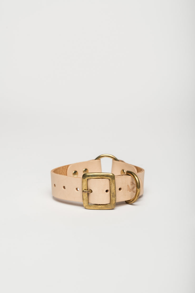 Leather Dog Collar, Natural - allwaggers.com