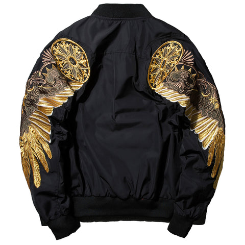 Wings Embroidery Bomber Jacket