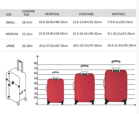 luggage cover size chart