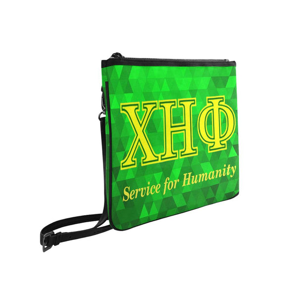 Chi Eta Phi Service for Humanity Emerald Green Slim Crossbody Bag - Reflections By Zana