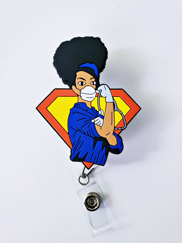 'Super' Blue Healthcare Worker Retractable ID Badge