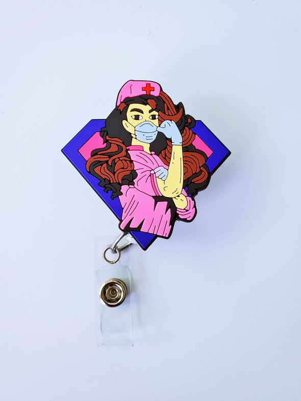 Pink ID Super Worker Retractable ID Badge