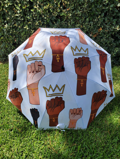 Queens Stand Up 60in Golf Sized Push Button Umbrella