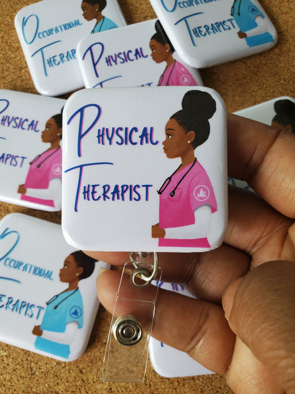 PT OT Physical & Occupational Therapist Retractable ID Badge