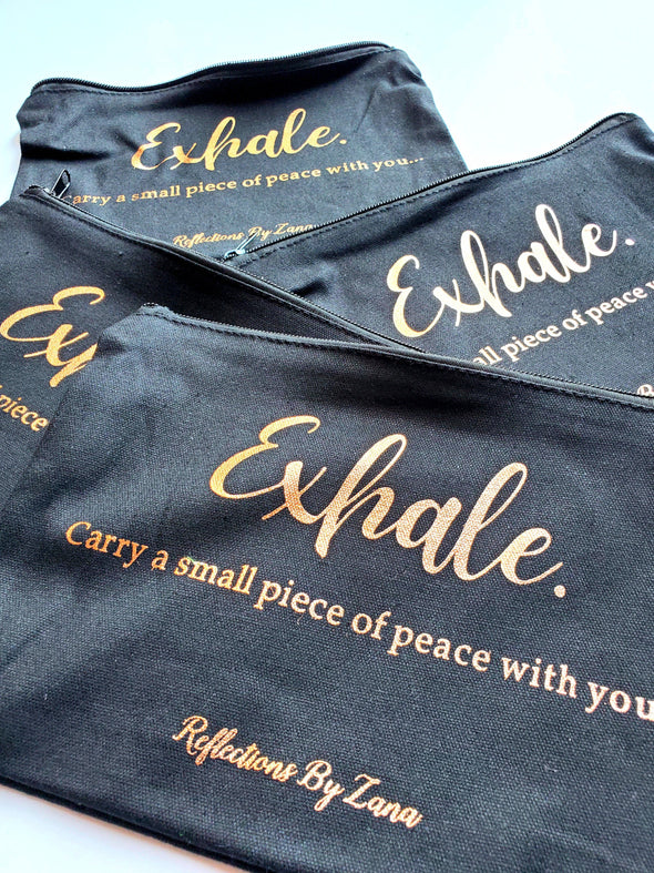 Black Canvas 'Exhale' Zipper Carry Bag with Rose Gold Title