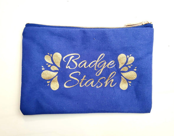 Badge Stash All purpose Lined Zipper pouch in Gold Foil 4 colors
