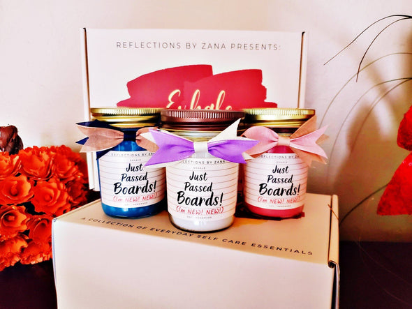 'Just Passed Boards' Starter Pack 8oz Soy Candle, Body Crème & Essential Oil 'Exhale' Gift Set