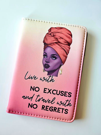 Orange Ombré Passport Cover with Headwrap 'Travel with NO REGRETS'