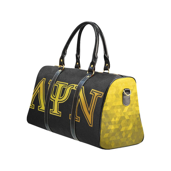 Lambda Psi Nu LPN Black & Gold Travel Duffel Bag - Reflections By Zana