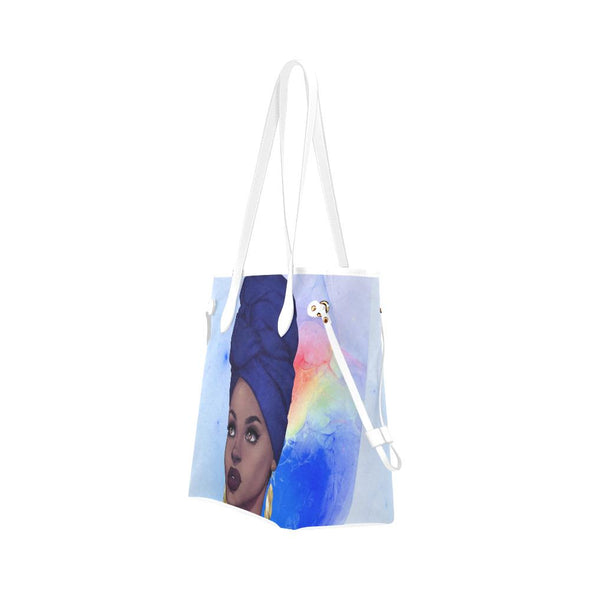 Sapphire Blue Queen Zara Clover Canvas Tote Bag - Reflections By Zana