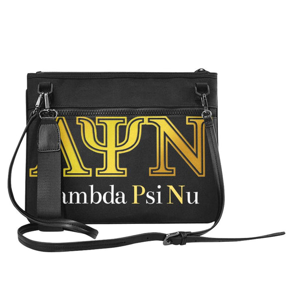 Classic Lambda Psi Nu LPN Black Slim Clutch Bag - Est 2019 - Reflections By Zana