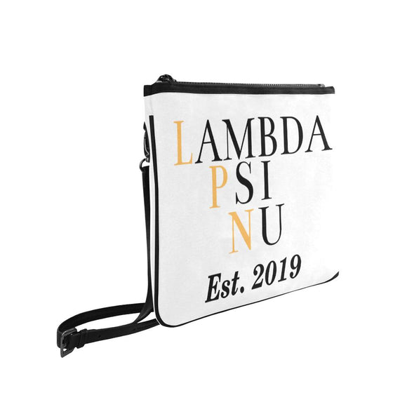 Lambda Psi Nu LPN White Slim Clutch Bag - Est 2019 - Reflections By Zana