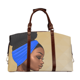 Royal Blue with Gold Accents Oversized Classic Travel Bag - Reflections By Zana