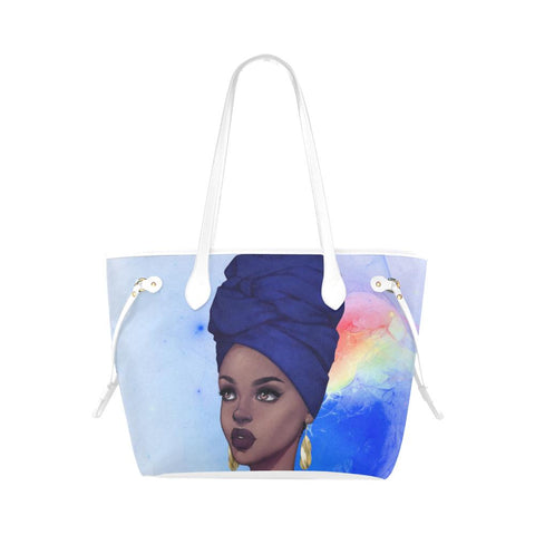 Blue Queen Clover Clover Canvas Tote Bag (Model 1661) - Reflections By Zana