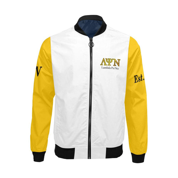 Classic Lambda Psi Nu LPN  White & Gold Unisex Bomber Jacket XS-2X - Reflections By Zana