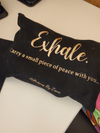 Black canvas Exhale Bag zipper pouch with Rose Gold Letters