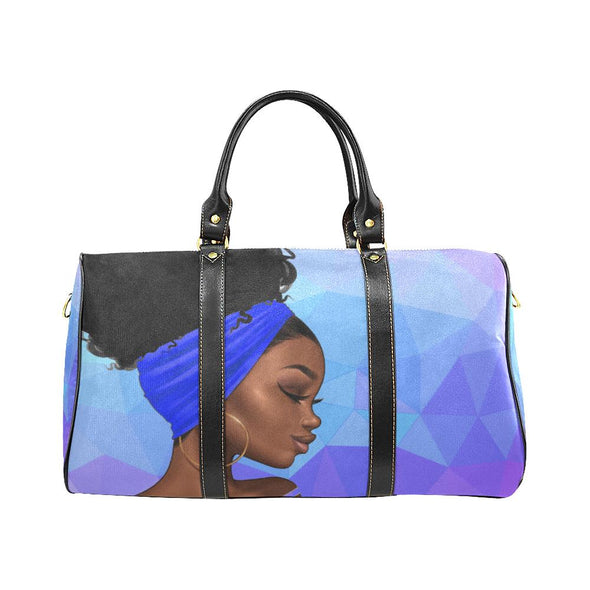 Bold in Blue & White Zana Small Travel Duffle Bag - Reflections By Zana