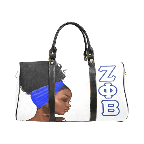 Dove White Zeta Phi Beta Travel Bag - Reflections By Zana