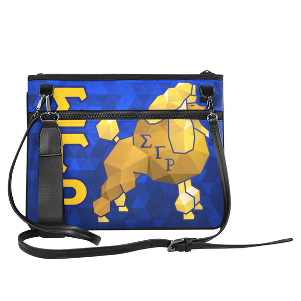 Sigma Gamma Rho Blue and Gold with Poodle Slim Crossbody Bag/ Laptop Case - Reflections By Zana